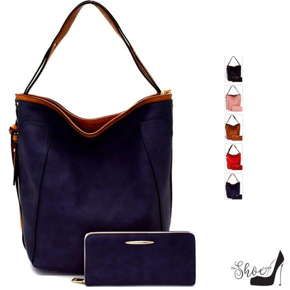 My Bag Lady Online Handbags - Macie Vegan Leather Denim Texture Handbag Set